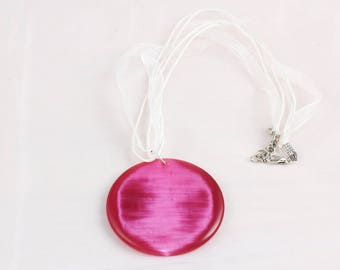 Crimson Round Moon pendant Multi Strand Necklace