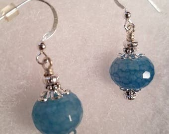 Sterling Silver Blue Faceted Stone Earrings