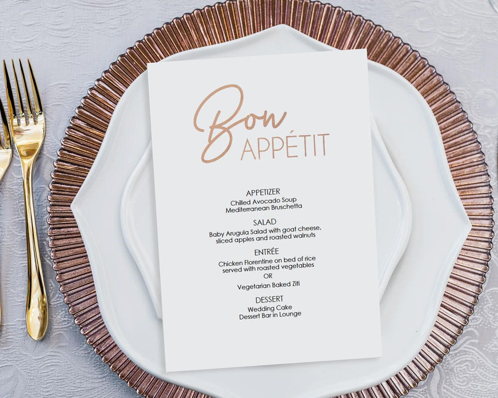 rose gold dinner menu bon appetit instant download