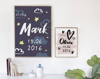 Child's metric / Baby metric / Newborn /Newborn metric / Personalized / Editable PDF / Baby /Kid/Wall art /Kids room decor/Poster