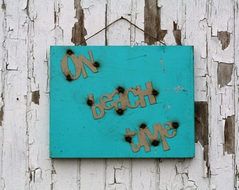 On Beach Time vintage style metal sign, beach style decor, beach house sign, metal magnet board, vacation photo board, beach photo frame