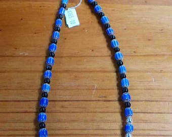 C61  Blue Chevron, Silver And Black Onyx Bead Necklace.   21 Inch