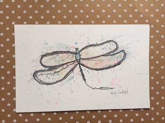 Watercolor and Ink Dragonfly Painting, Dragonfly Painting