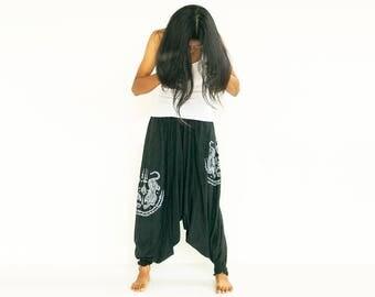 Thai YantraYoga Harem Pants 2 Tigers Tattoo aladdin boho hippie pants Drop Crotch Maxi pants Hand Screen printed Thai Pants 100% Cotton
