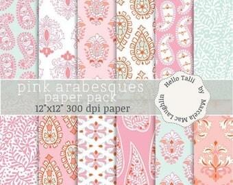 Pink Paisley Digital Paper PINK ARABESQUES- Digital pink acqua white damask paisley flourishes flowers wedding decor girly party backgrounds