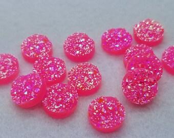 ab hot pink titanium cut 12mm faux druzy Cabochons 10 pcs