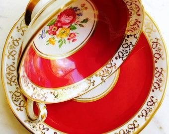 Royal Stafford Cherry Red Gold Filigree Rose Bouquet Tea Cup and Saucer