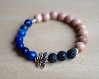 BEE INTUITIVE // Sodalite Bracelet / Bee Bracelet / Save the Bees / Essential Oil Diffuser Bracelet / Yoga Bracelet / Meditation Bracelet
