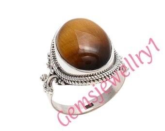 Tigers eye ring, large tigers eye ring, sterling silver tigers eye ring, tigers eye,brown gemstone ring,US Size 5 6 7 8 9 10 11 12 13 14  14