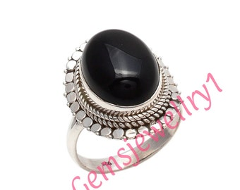 Black Onyx Ring~Silver Black Onyx Ring~Black Onyx Oval Ring~Black Onyx Statement Ring~Natural Onyx ,US Size 5 6 7 8 9 10 11 12 13 14   15