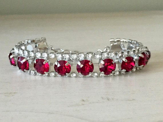 Ruby & Clear Crystal Bracelet