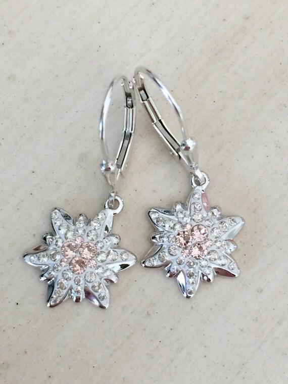 Swarovski Vintage Rose Edelweiss Earrings, Sterling Silver