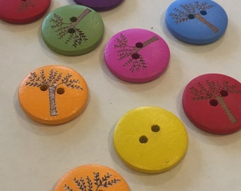 Round Coloured Tree button, pack of 10, 20mm