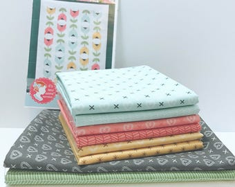 "Dutch Tulips Quilt Kit by Kimberly Jolly of It's Sew Emma for Moda- ISE 170G Finished Size 48.5"" x 64.5"""