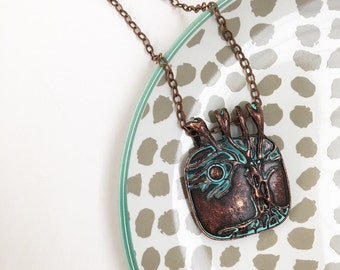 Boho copper tree of life pendant necklace, tree and moon, patina, bohemian