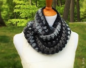 ON SALE Crocheted Circle Scarf, Crocheted Infinity Scarf, Unisex Scarf in Grays