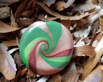 polymer clay camo swirl waves necklace