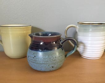 Curated pair of vintage handled mugs - Noritake & Sango - and a darling hand thrown blue ceramic creamer for morning coffee together!