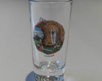 LOURDES Vintage Souvenir Religious Slim Size Shot / Sherry Glass