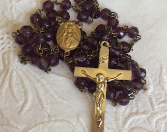 Vintage 1930s Amethyst Glass Rosary