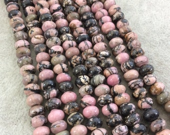 "5mm x 8mm Glossy Finish Natural Dendritic Rhodonite Rondelle Shape Beads with 2mm Holes - 7.75"" Strand (Approx. 36 Beads) - LARGE HOLE BEADS"