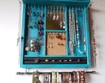 Jewelry holder. earrings display with shelf. Turquoise distressed earring storage.  wall mounted organizer with mirror. necklace holder.