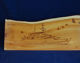 Pyrography wood art, British warships, HMS Active, type 21 frigate, nautical art, royal navy, boats, yachts, sailing art, gift for men,pr268
