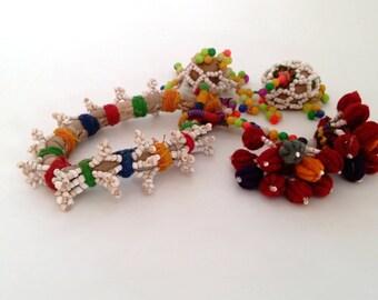 """Enrichi de perles Banjara bras Bracelet ethnique Lambani corps bijoux bijoux Tribal fournitures BRICOLAGE 7"""" circonférence intérieure"""