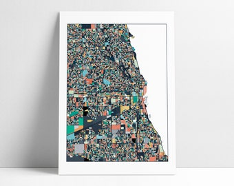 Chicago, Abstract Art, Travel Map, Chicago Map, Chicago Print, City Map, Chicago Map Poster, Chicago Map Print, Illinois, Wall Art Decor