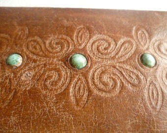 Vintage Leather Jewelry Box, Leather gift box, Old Brown Leather Box, Small Jewelry Box,Embossed Leather Box,Handmade  Box, Luxury Gift ,