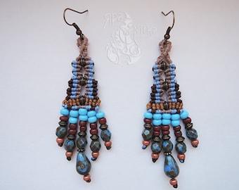 Dangle earrings Boho earrings Tassel Macrame earrings Statement earrings Gypsy earrings Tribal earrings Long earrings Hippie earrings