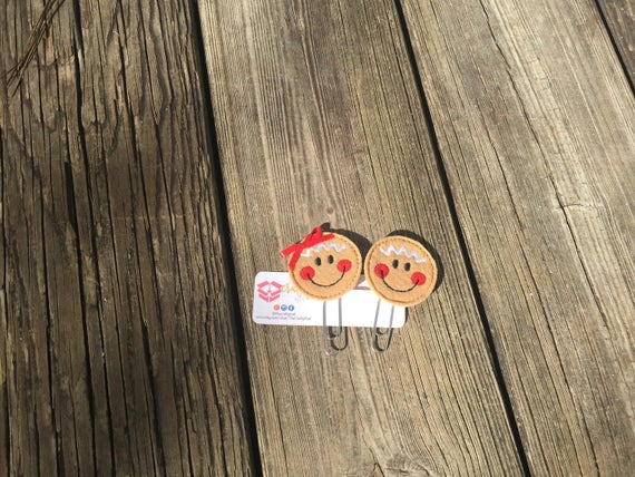 Gingerbread Face Planner Clip/Paper Clip/Feltie. Choice of girl, boy or both. Christmas Planner Clip