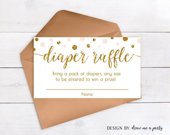 Diaper Raffle Ticket , Pink and Gold Baby Shower Diaper Raffle Printable , Gold Glitter Diaper Raffle Cards , Download , Invitation Insert