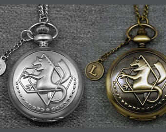 Big Fullmetal Alchemist Pocket Watch Large Round Carved Mens Pocket Watch Pendant 46mm, Pearl Color, Antique Bronze for Choice --for gifts