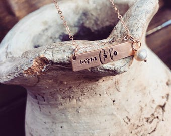 Rose Gold Filled Bar Necklace Personalized Custom Hand Stamped Necklace Wedding Jewelry Sterling Silver Name Bar Necklace