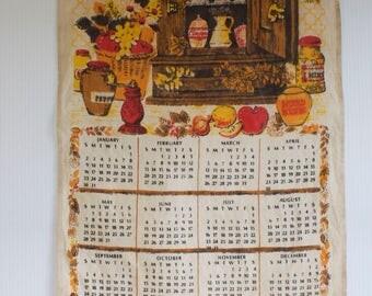Vintage Tea Towel Calendar with Rustic Cupboard with Species - 1972 Kitchen Towel