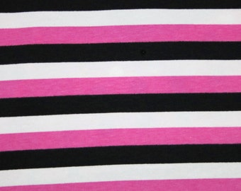 "Knit Minnie 1/2"" Stripes - Pink, White and Black Fabric 1/2 yard"