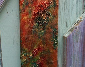 "Rusty texture canvas Original Art 16"" by 6"""