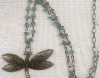 """28"""" bronze dragonfly necklace with blue beads / Dragonfly Necklace / Dragonfly Pendant"""
