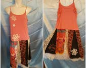 OOAK by SuElles-Altered Couture-Summer dress-Tattered stitching-Concert-Gypsy-Boho Hippie-Reuse-Restyle-Trendie-Teen-Fun dress-Patchwork-FIA