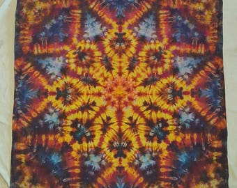 Small 3ftx3ft Psychedelic Yellow Red Blue Tie Dye Star Mandala Tapestry Wall Hanging Cotton Trippy Home Festival Decor