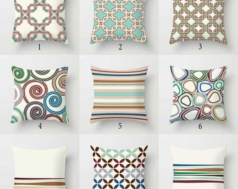 Outdoor Pillow Covers, Striped Pillows, Abstract Pillow, Brown Blue Green  Beige Porch Pillows