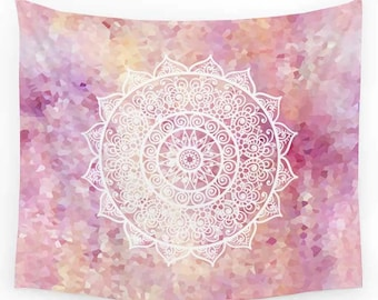Pink Tapestry, Mandala Tapestries, Blush Tapestry, Wall Tapestry, Wall Hanging Bohemian Tapestries Boho Decor Pink Bedroom Decor Home Decor