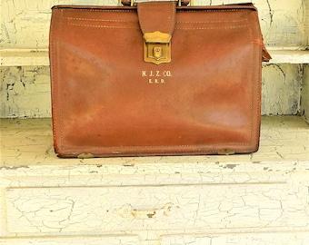 Rexbilt Leather Attache Case, Expanding, Worn Out Case, Re-Purpose, Monogrammed Vintage Briefcase