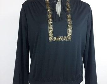 Vintage Black Blouse Metallic Gold Blouse Black Gold Peasant Blouse Polyester Shirt 1970s Disco Shirt