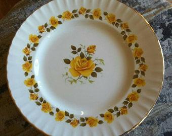 Beautiful and Serene: Ridgway Ironstone Golden Roses Dinner Plates