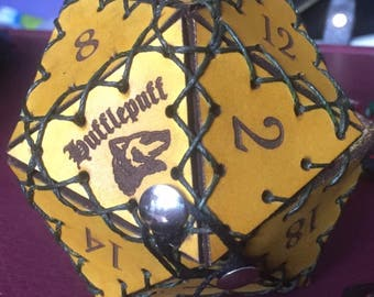 Hufflepuff Leather D20 Bag of Holding