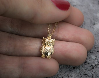 Owl necklace, bird necklace, owl charm, animal necklace, gold necklace, tiny necklace, dainty necklace, gift under 50, gift for her.