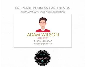business card guy character biz card design biz card architect biz card accountant biz card premade business card calling card social card