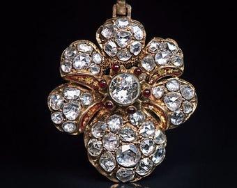Victorian Era Antique 7 Ct Rose Cut Diamond Gold Pendant